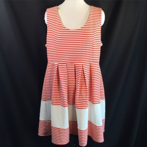 Ya LA Red White Stripe Dress Sweetheart Valentine Volup 2X / 3X