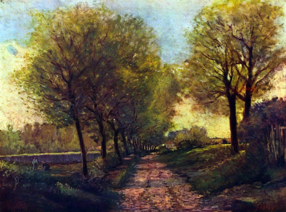 100% Hand Painted Oil on Canvas - Lane near a small Town by Sisley - 24x36 Inch