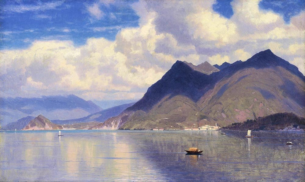 100% Hand Painted Oil on Canvas - William Haseltine - Lago Maggiore - 20x24 Inch