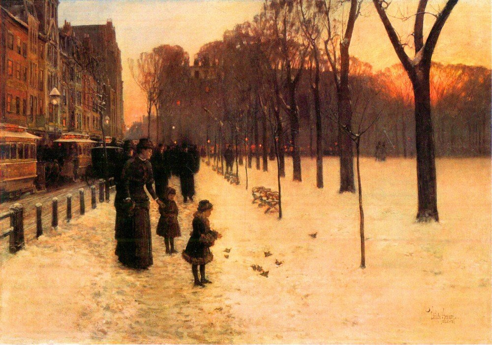 100% Hand Painted Oil on Canvas - Boston in everyday twilight by Hassam - 24x...