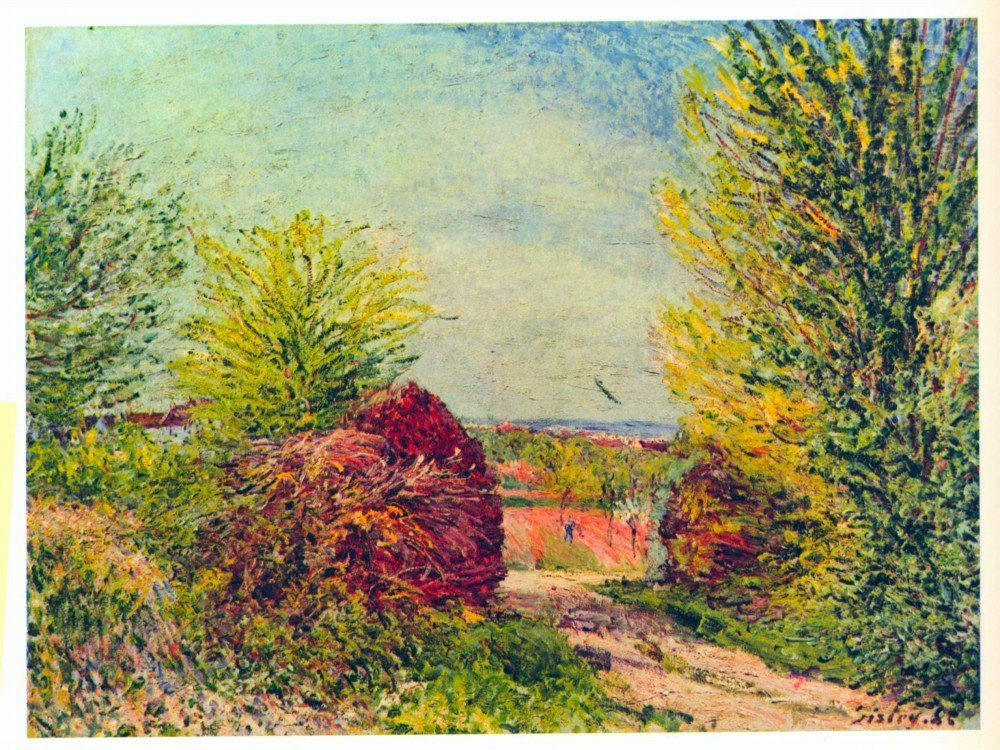 100% Hand Painted Oil on Canvas - Veneux-Nadon in the spring by Sisley - 24x3...