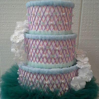 Mermaid Themed Baby Shower 3 Tier Under The Sea Tutu Diaper Cake Centerpiece