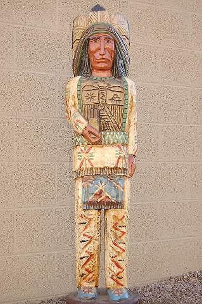 5' Cigar Store Indian Chief w THUNDERBIRD Breastplate Carved by Frank Gallagher