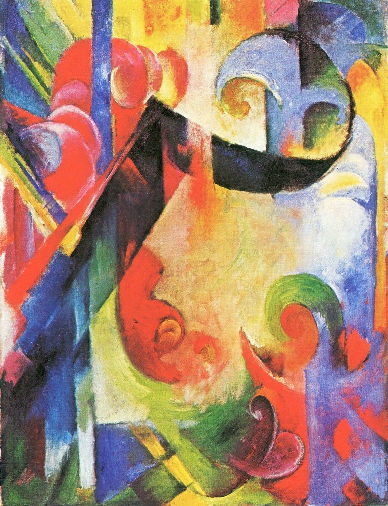 100% Hand Painted Oil on Canvas - Broken Forms by Franz Marc - 24x36 Inch