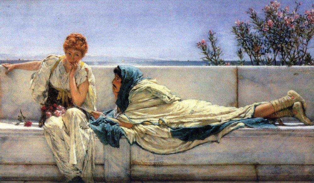 100% Hand Painted Oil on Canvas - Asking by Alma-Tadema - 20x24 Inch