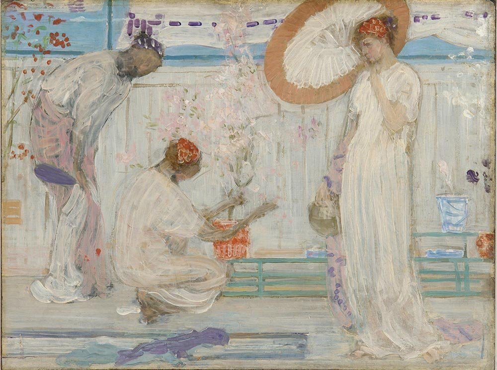 100% Hand Painted Oil on Canvas - Whistler - The white symphony with three gi...