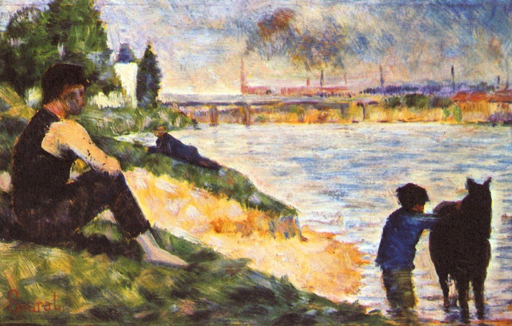 100% Hand Painted Oil on Canvas - Boy with Horse by Seurat - 30x40 Inch