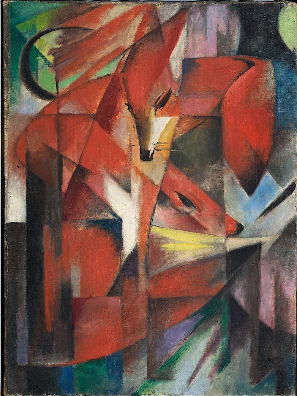 100% Hand Painted Oil on Canvas - Franz Marc - The Foxes - 24x36 Inch