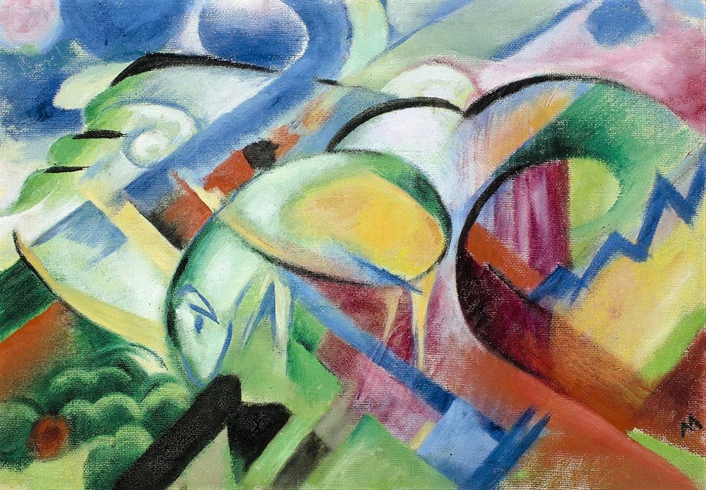100% Hand Painted Oil on Canvas - Franz Marc - The Sheep - 24x36 Inch