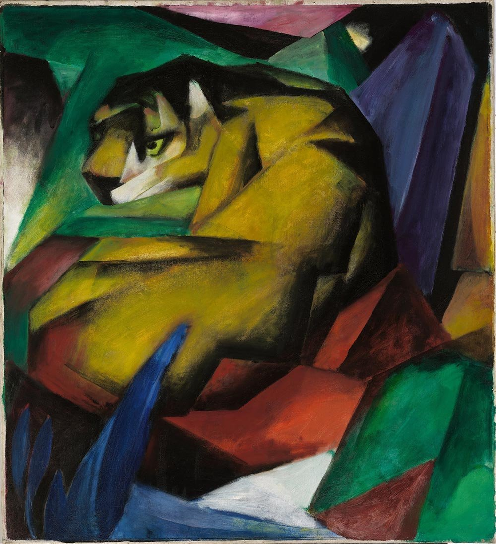 100% Hand Painted Oil on Canvas - Franz Marc - The tiger - 24x36 Inch