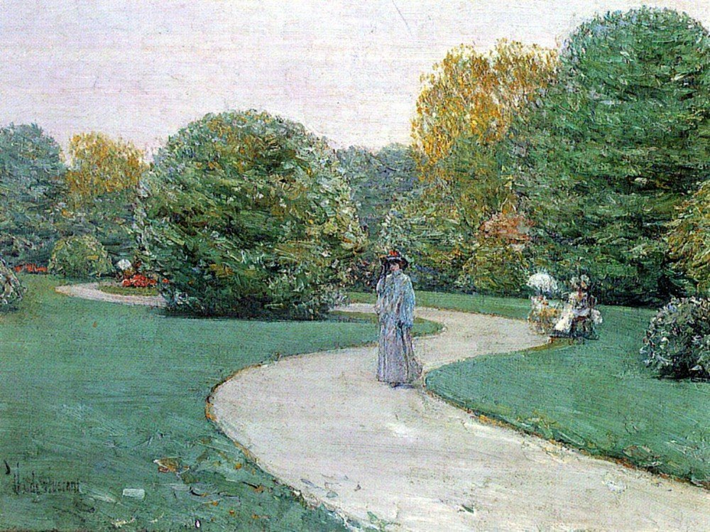 100% Hand Painted Oil on Canvas - Parc Moneceaux, Paris by Hassam - 20x24 Inch