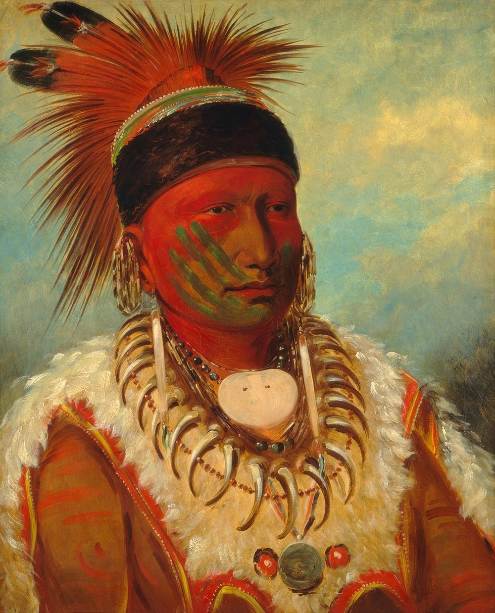 100% Hand Painted Oil on Canvas - George Catlin - White Cloud, Chief of the I...