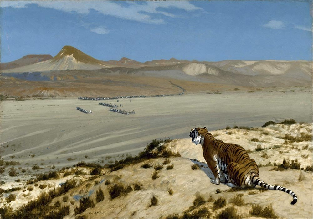 100% Hand Painted Oil on Canvas - Gerome - Tiger on the Watch - 24x36 Inch