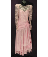 Vintage Pink Taffeta 100% Polyester Gown Lace C... - $65.99