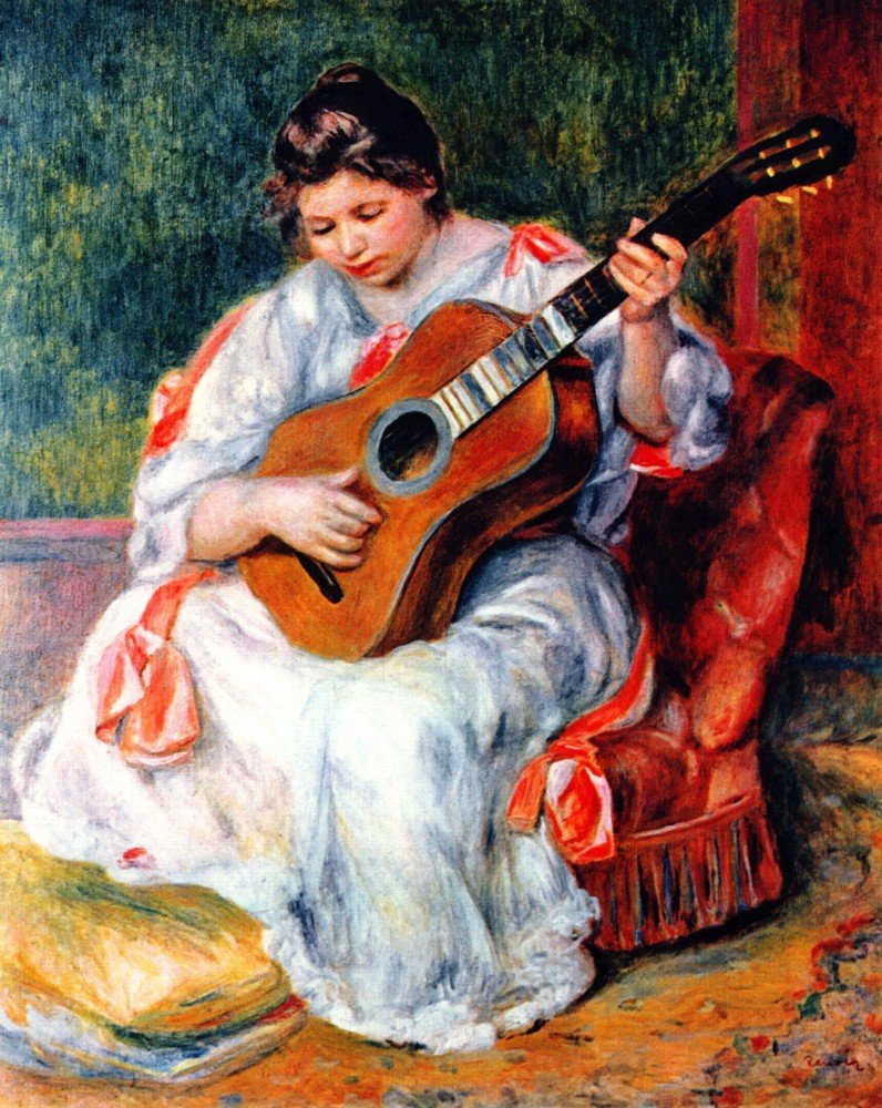 100% Hand Painted Oil on Canvas - Guitarist by Renoir - 24x36 Inch