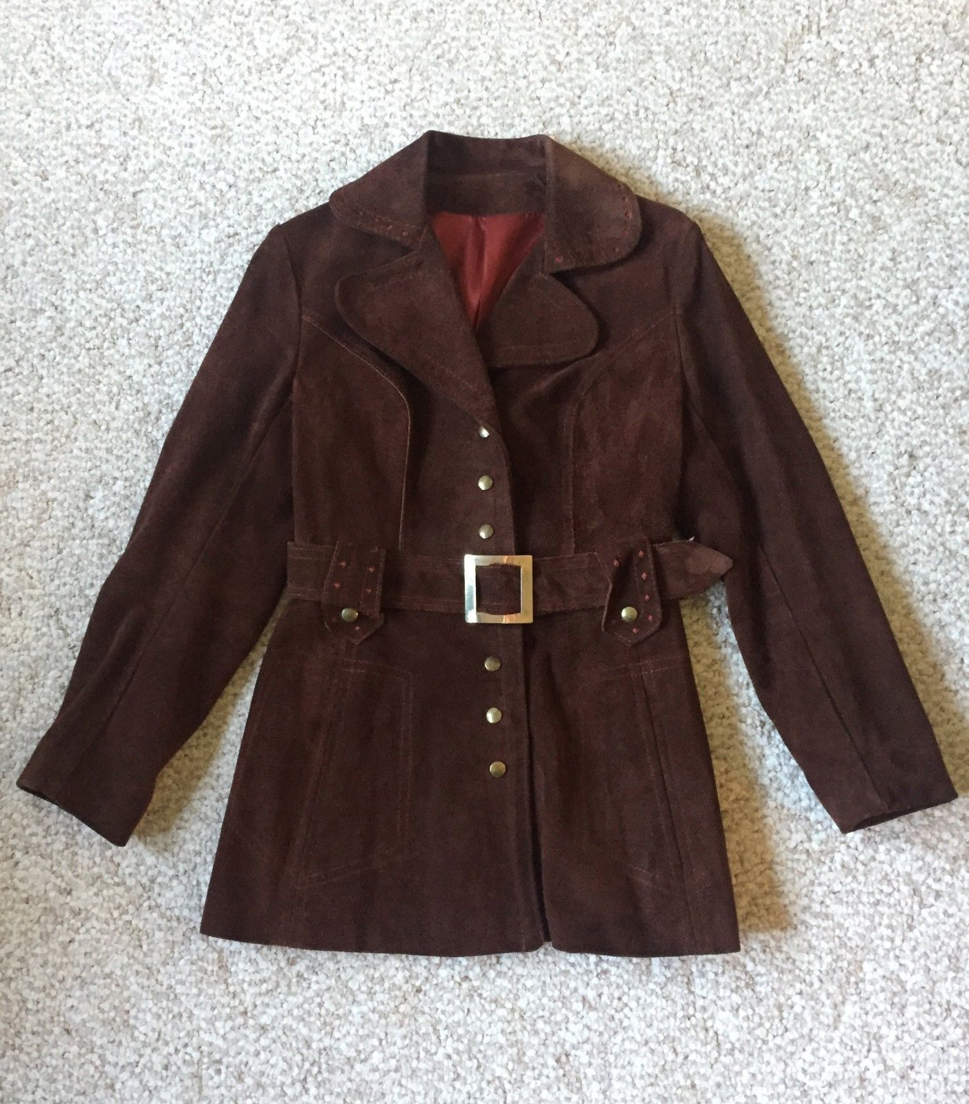 Vtg 70s Brown Suede Leather Women Button Up Coat RARE