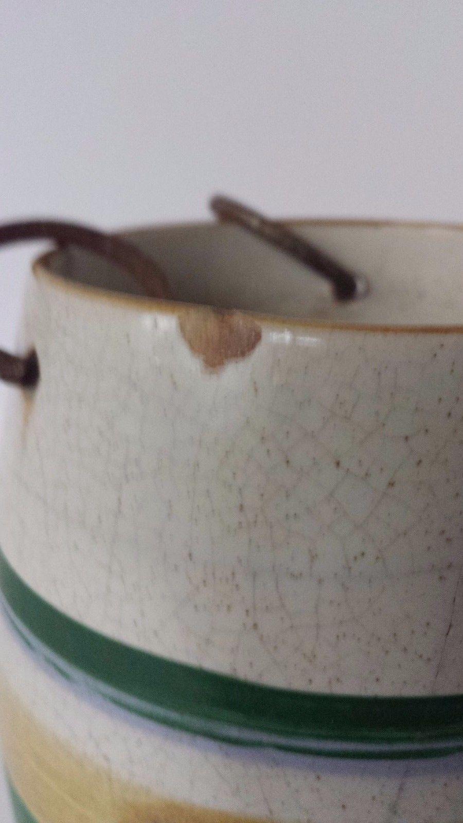 "Decorative Ceramic Barrel Planter Green Gold Beige 5"" Tall 3"" Diameter"