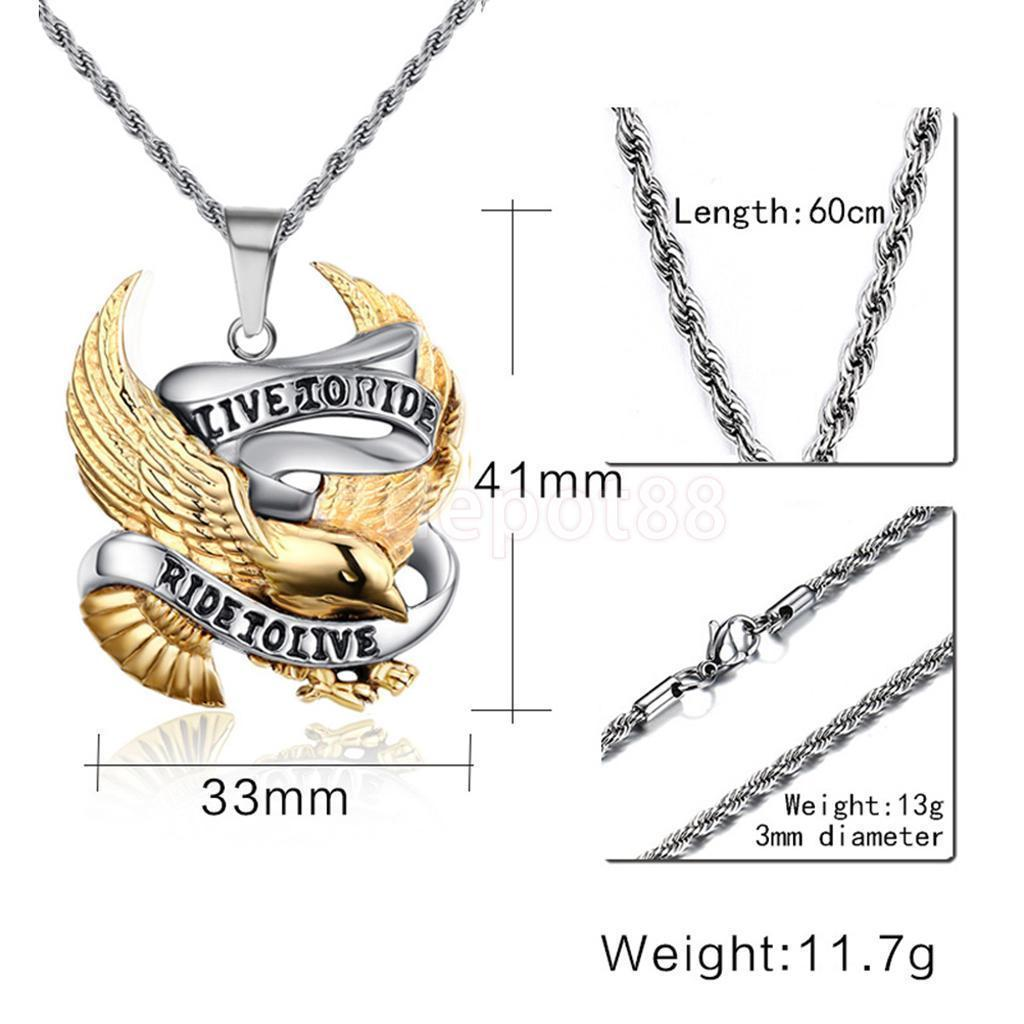 """Stainless Steel Silver/Gold Bikers """"Live to Ride,..."""" Pendant with 24"""" Chain"""
