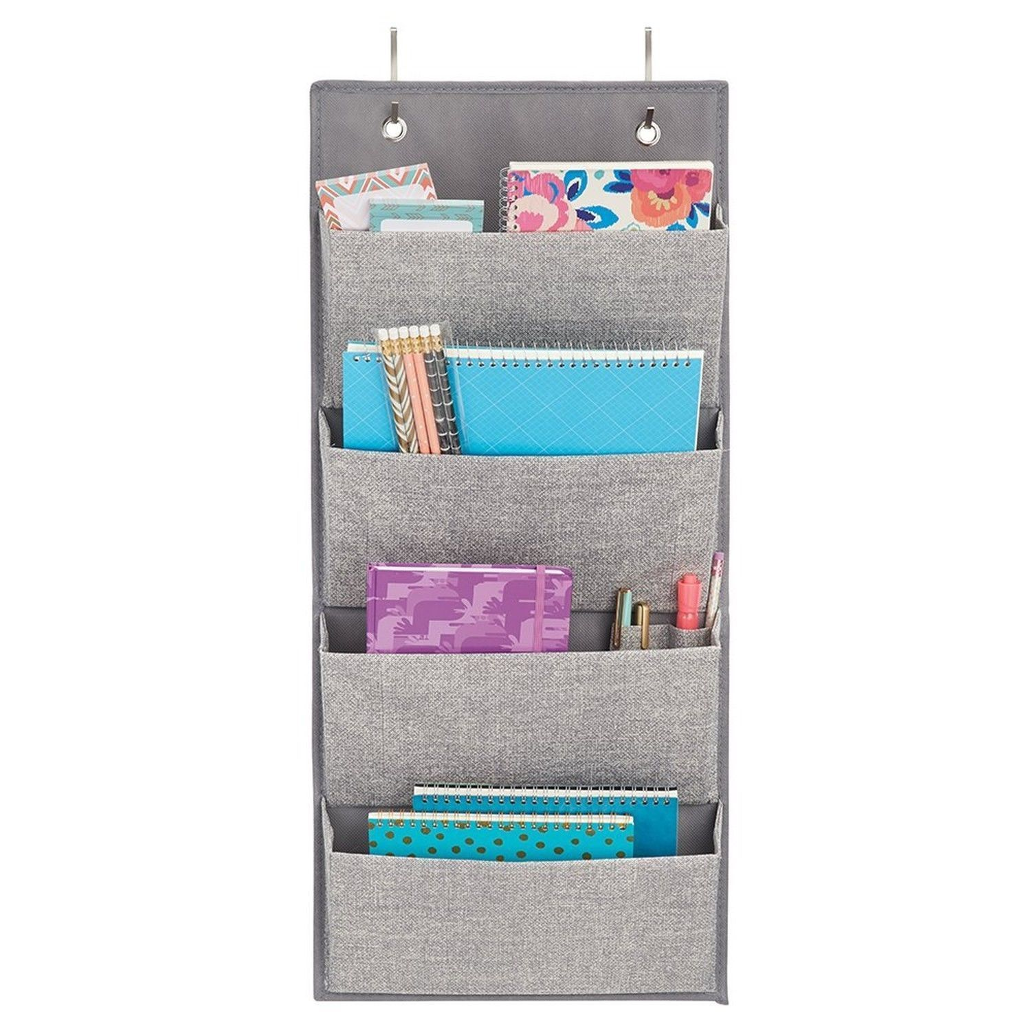 InterDesign Wall Mount/Over the Door Fabric Office Supplies Storage Organizer
