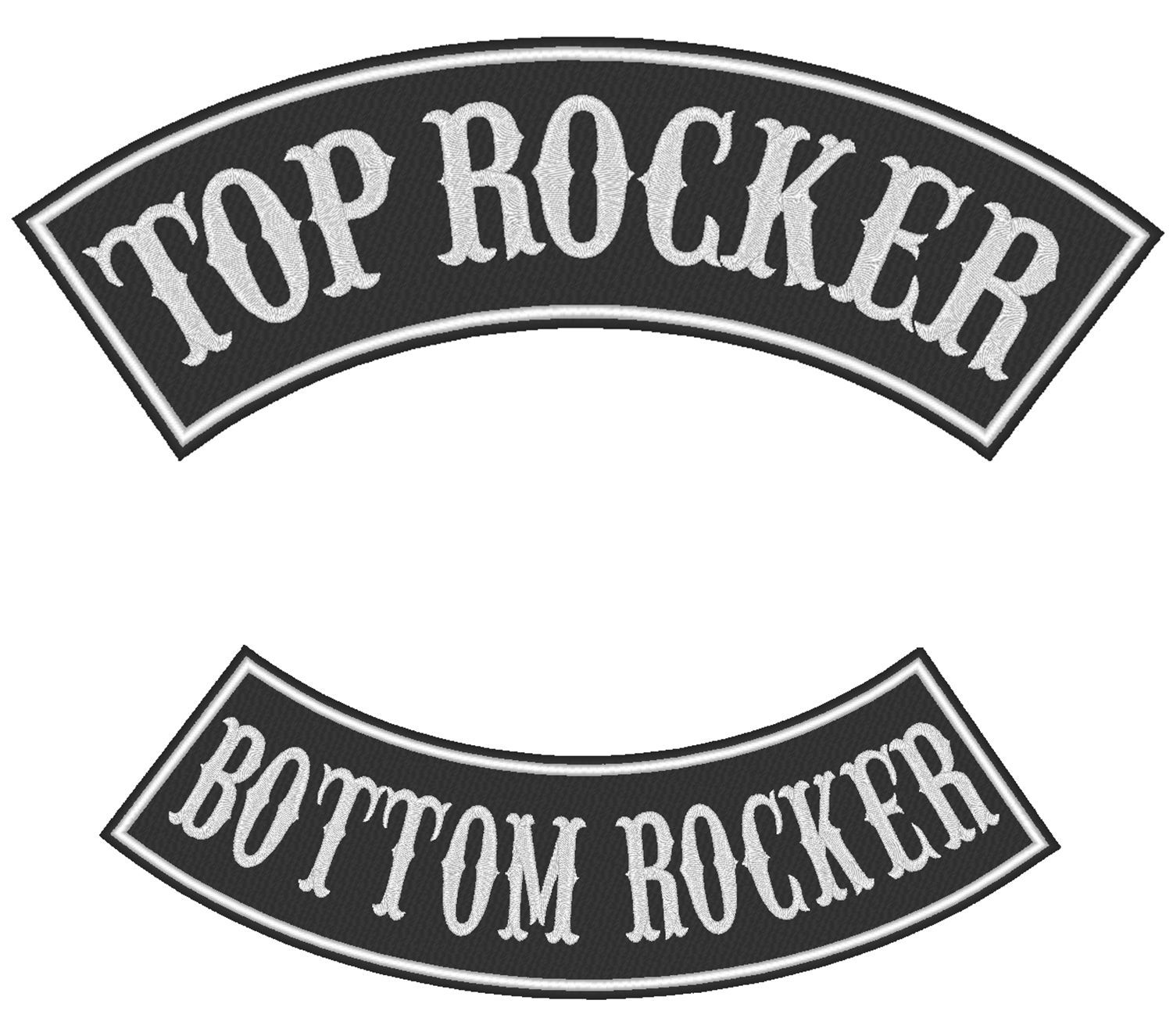 """Custom Embroidered Top 13"""" And Bottom 11"""" Rocker Set Biker Patch Club Outlaw (B)"""