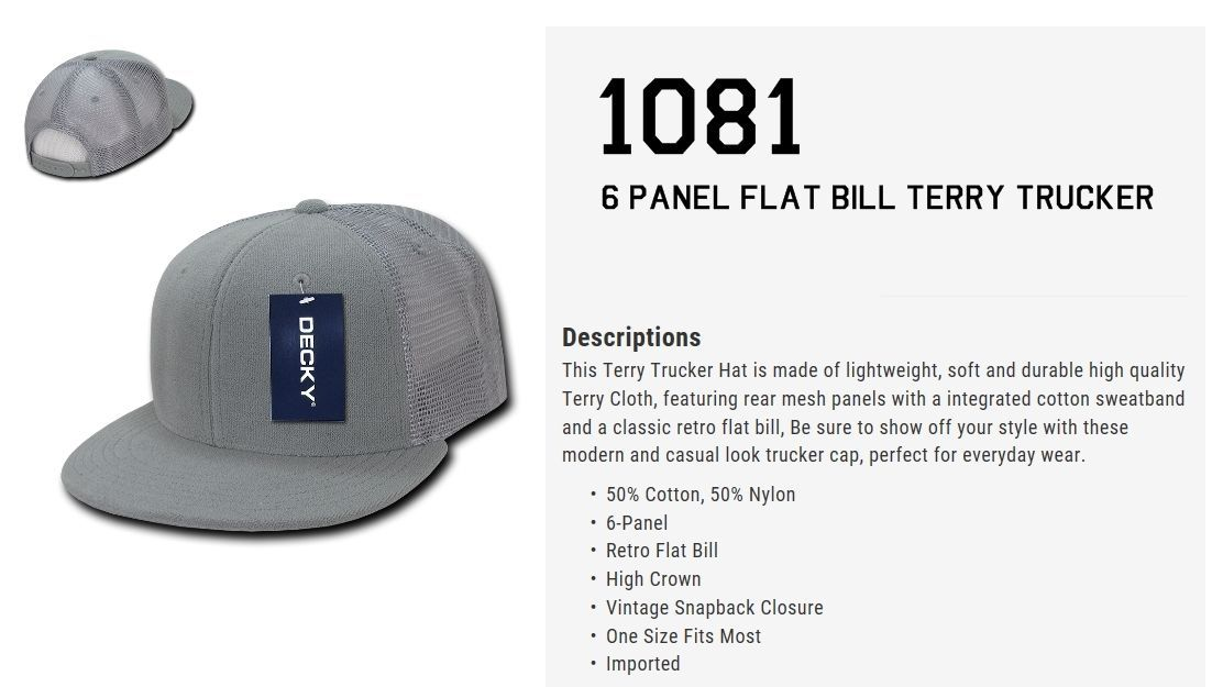 CUSTOM EMBROIDERY Personalized Customized Decky Terry Trucker Snapback Cap 1081