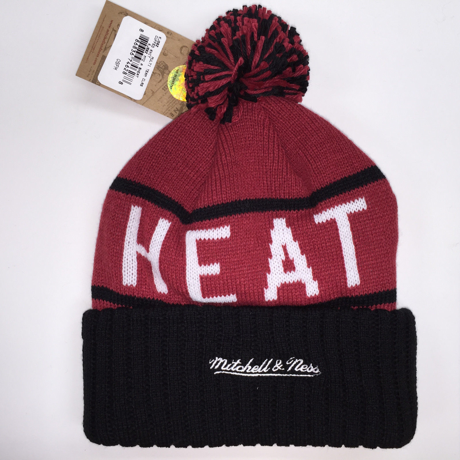 Mitchell & Ness NBA Miami Heat High 5 Cuffed Knit Beanie 11896