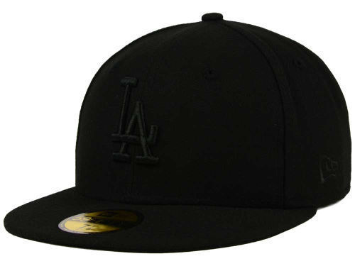 New Era 59Fifty MLB Los Angeles Dodgers Black on Black Fitted Cap