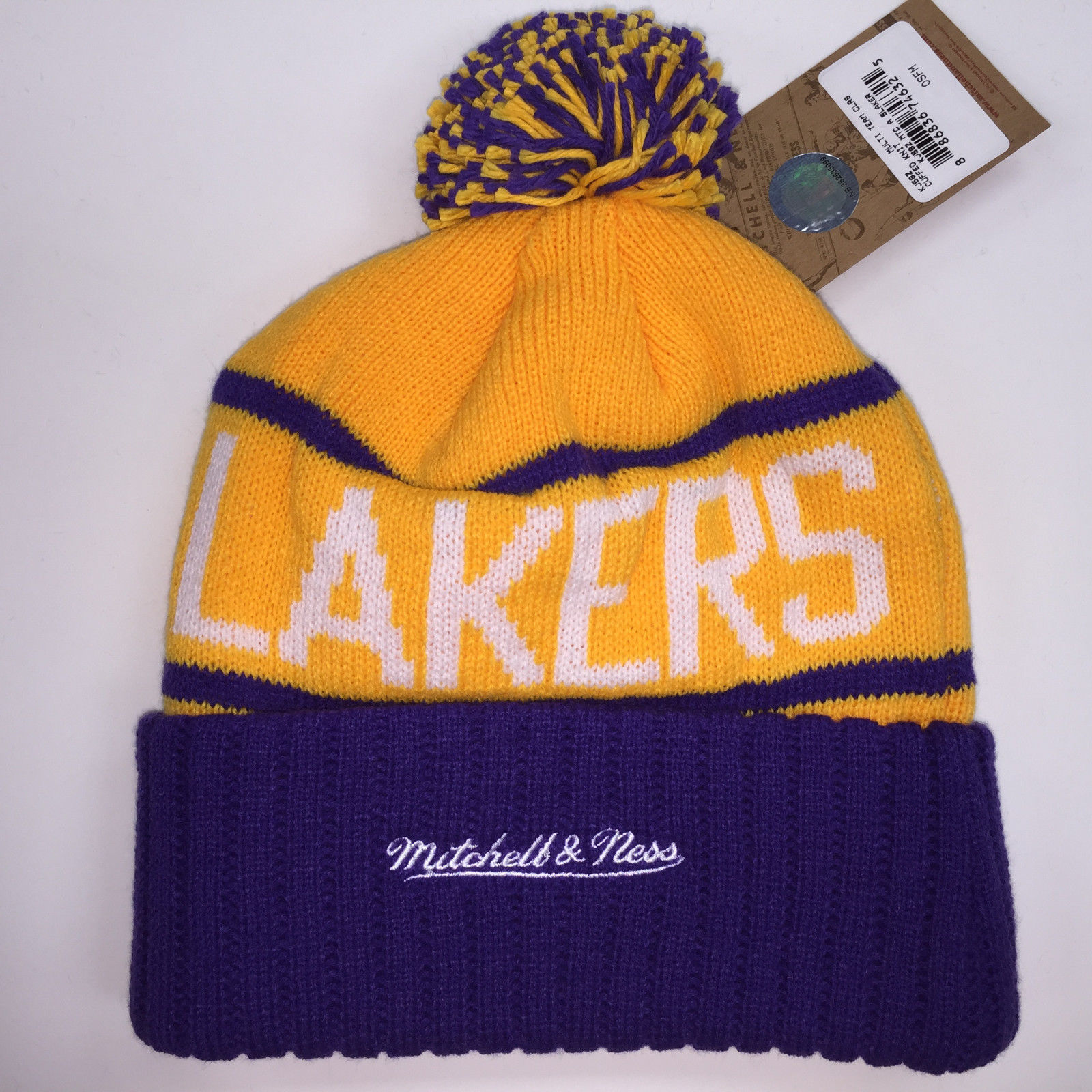 Mitchell & Ness NBA Los Angeles Lakers High 5 Cuffed Knit Beanie 11878