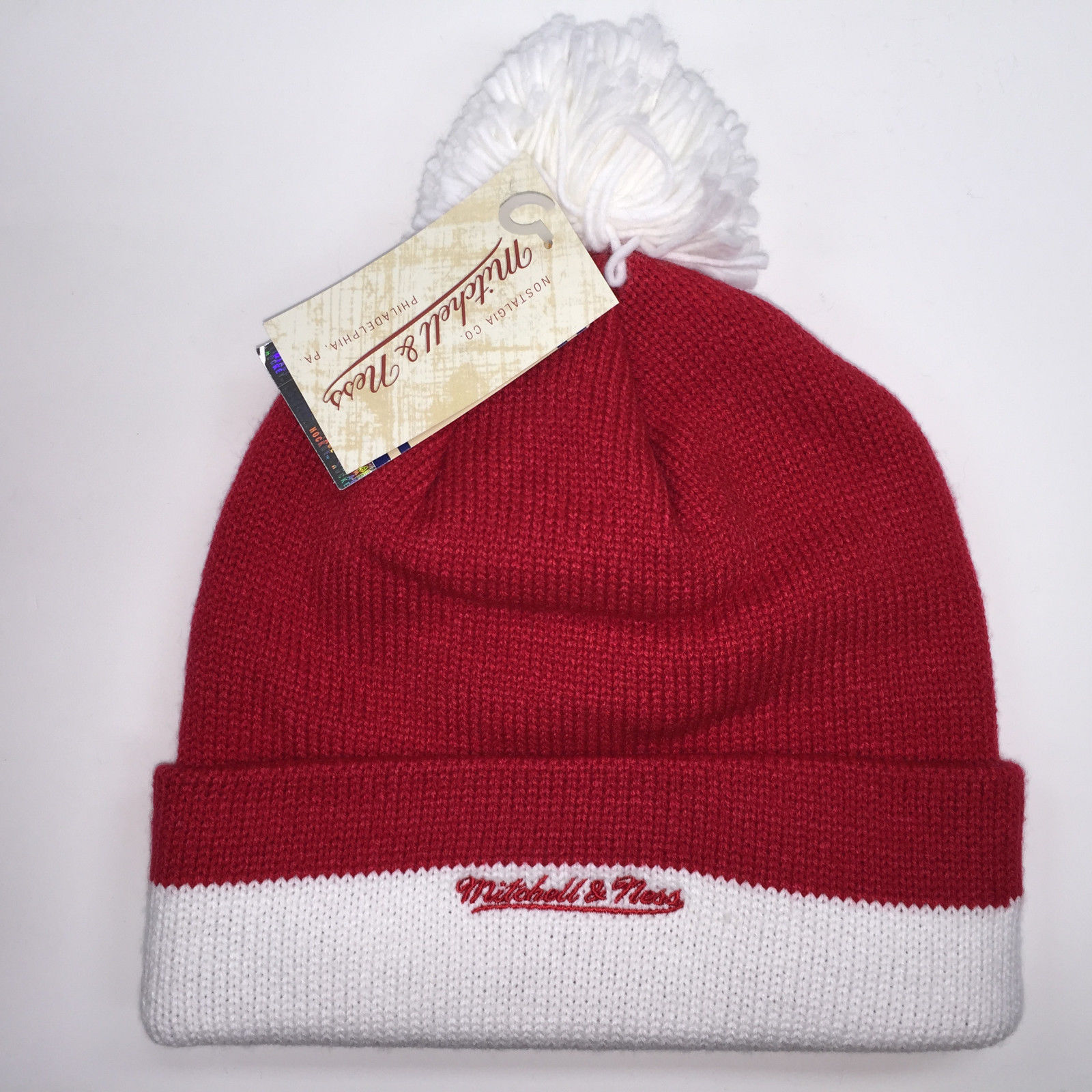 Mitchell & Ness NHL Detroit Red Wings Cuffed Pom Knit Beanie 6317