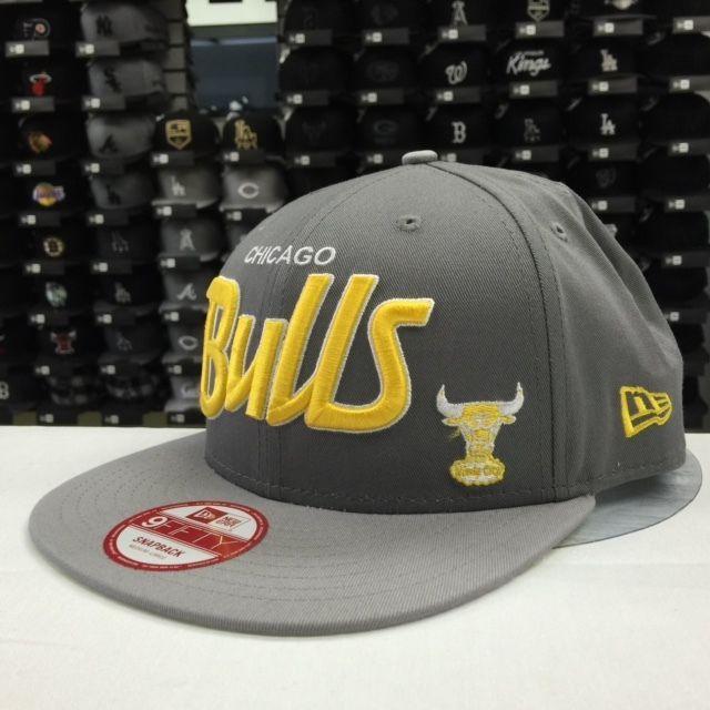 New Era 9FIFTY Chicago Bulls Gray Yellow OSFA Adjustable Snpaback #6436