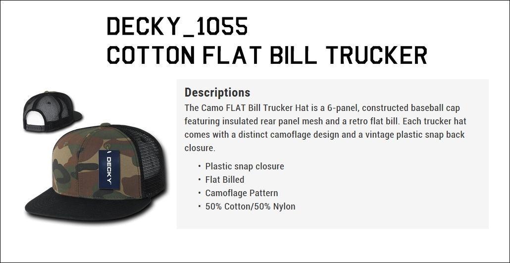 DECKY Plain Blank Camouflage Camo Cotton Flat Bill Snapback Trucker Cap 1055
