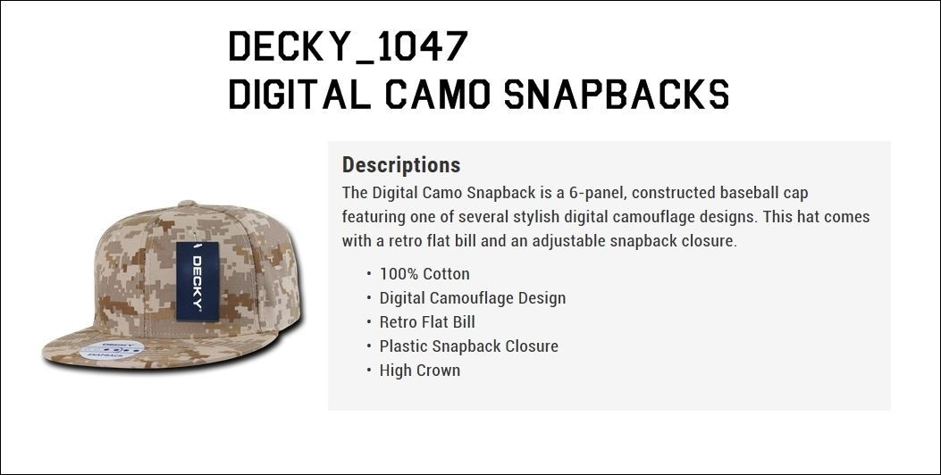 CUSTOM EMBROIDERY Personalized Decky Desert Camo Snapback 1047