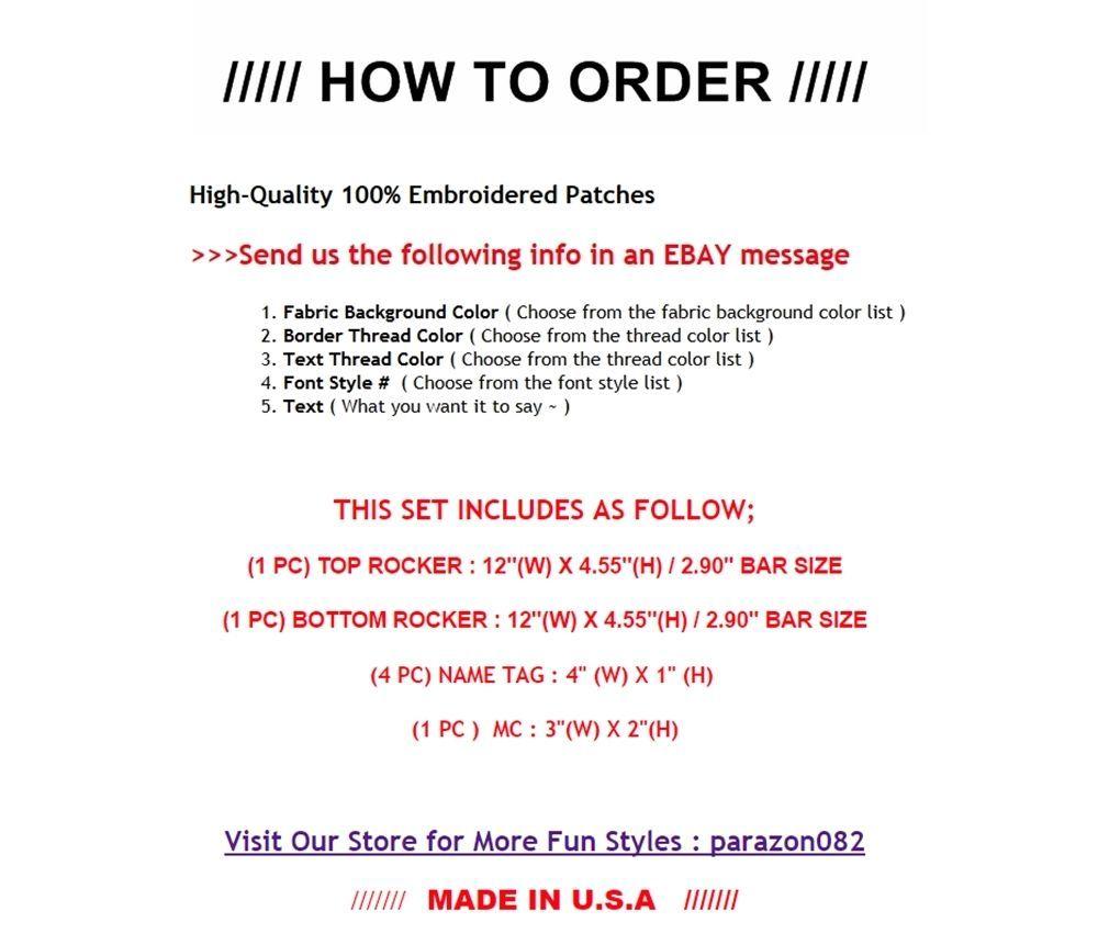 "Custom Embroidered 12"" Full Vest Set Rocker Patch Biker Patch (B) - 7 PC"