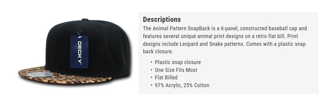 CUSTOM EMBROIDERY Personalized Customized Decky  Leopard Snake Snapback Cap 987