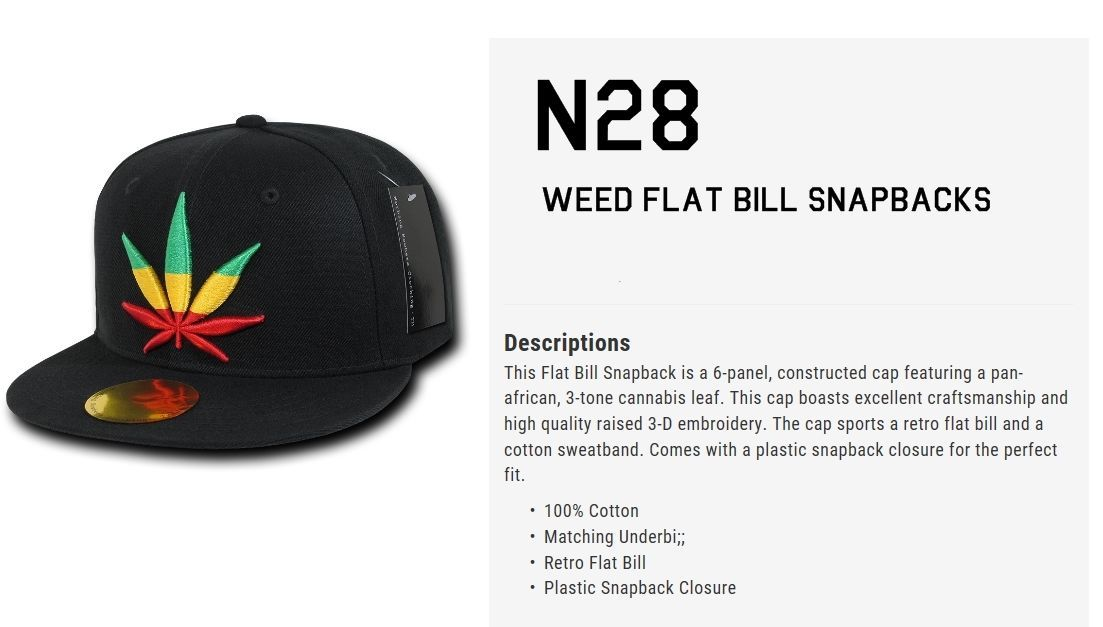 DECKY Weed Flat Bill Snapback 6-panel Cap Hat N28