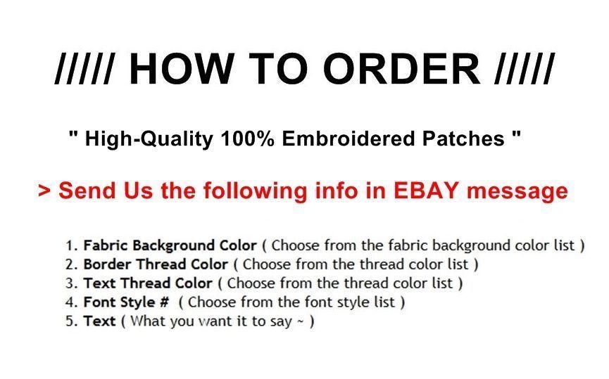 "Custom Embroidered Top & Bottom Rocker Biker Sew on Patch 11"" (B-1)"