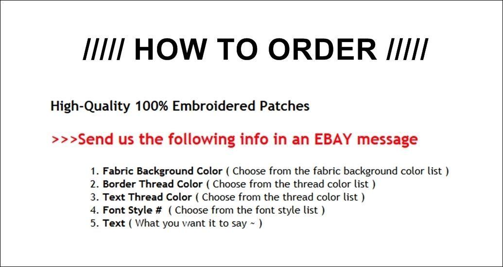 """Custom Embroidered Bottom Rocker Ribbon Patch Vest Outlaw Biker MC Badge 8"""" (E)"""