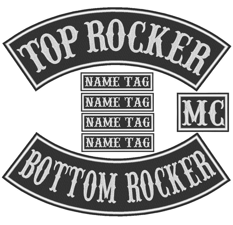 "Custom Embroidered 11"" Full Vest Set Rocker Patch Biker Patch (B) - 7 PC"