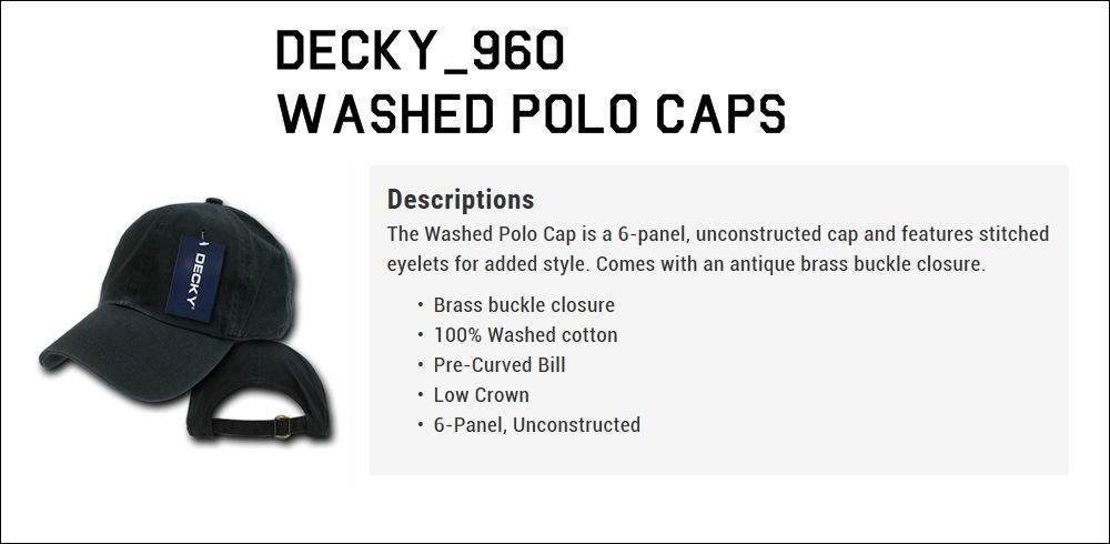 DECKY Plain Blank Curved Bill Washed Polo Adjustable Baseball Cap Caps Hat 960