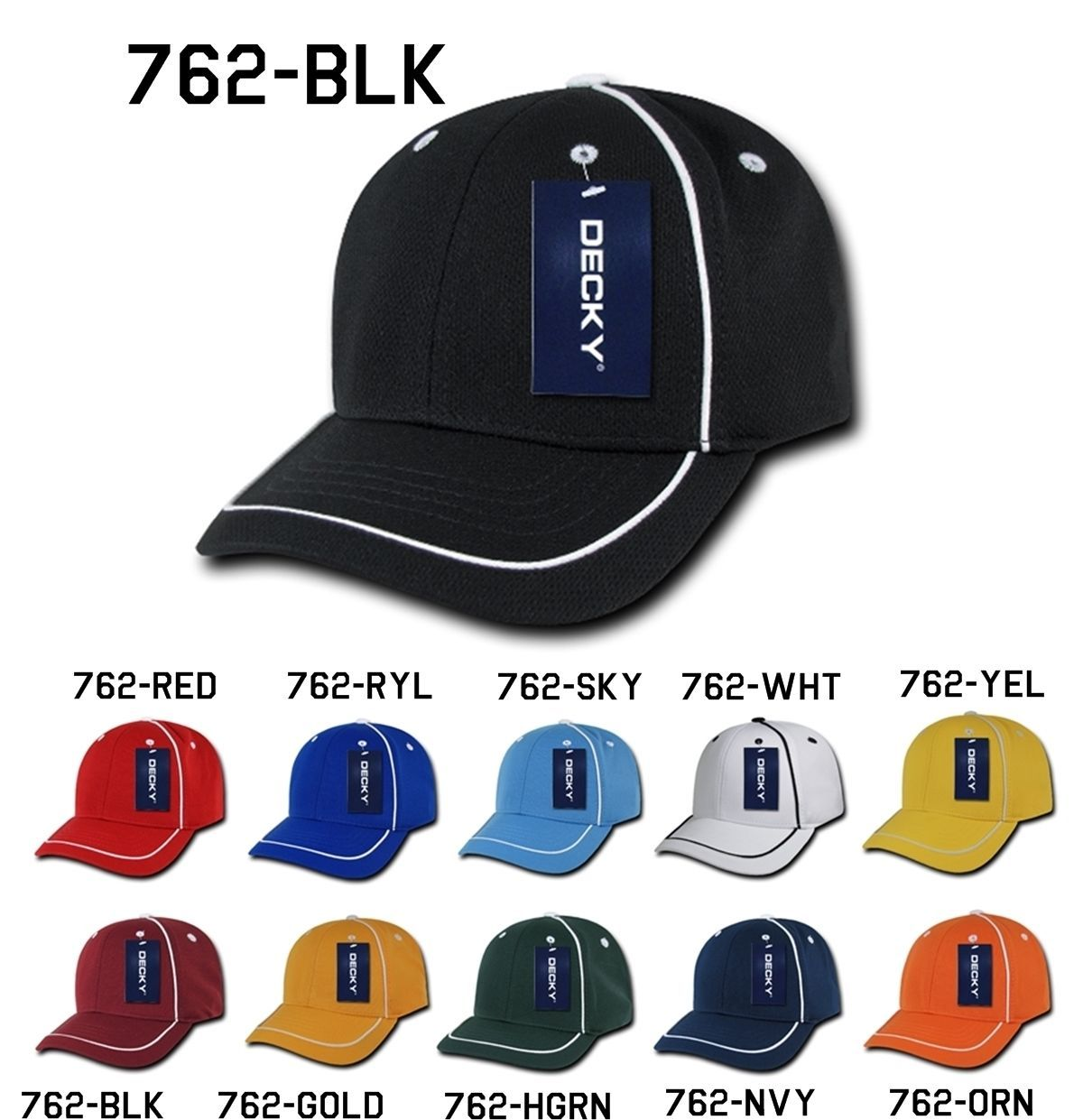 CUSTOM EMBROIDERY Personalized Customized Decky Performance Mesh Piped Cap 762