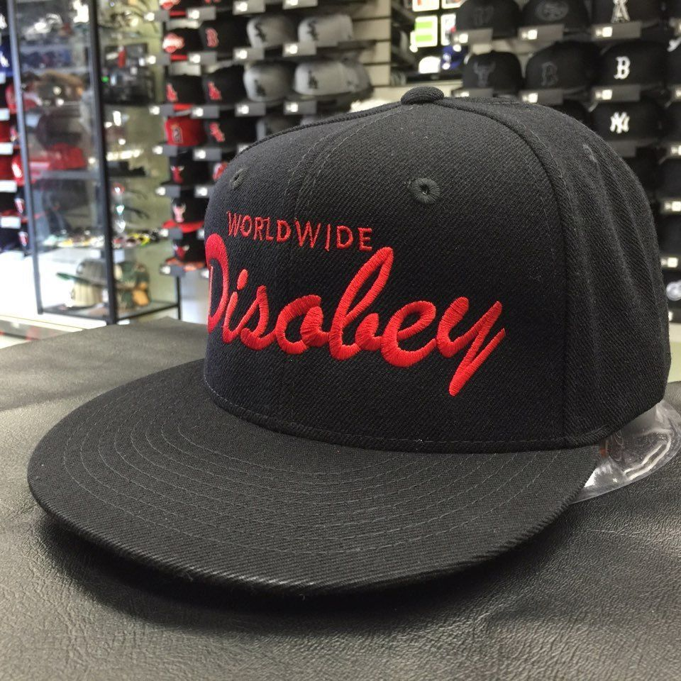 Custom Worldwide Disobey Black Red Adjustable Snapback Cap Hat 13293