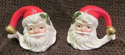Santa Clause Heads Salt Pepper Shake Ceramics 1993 Vintage Christmas