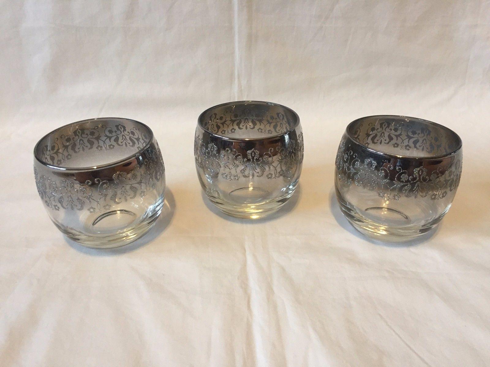 Vtg 70's Silver Rimmed Sparkly Design Drinking Glasses