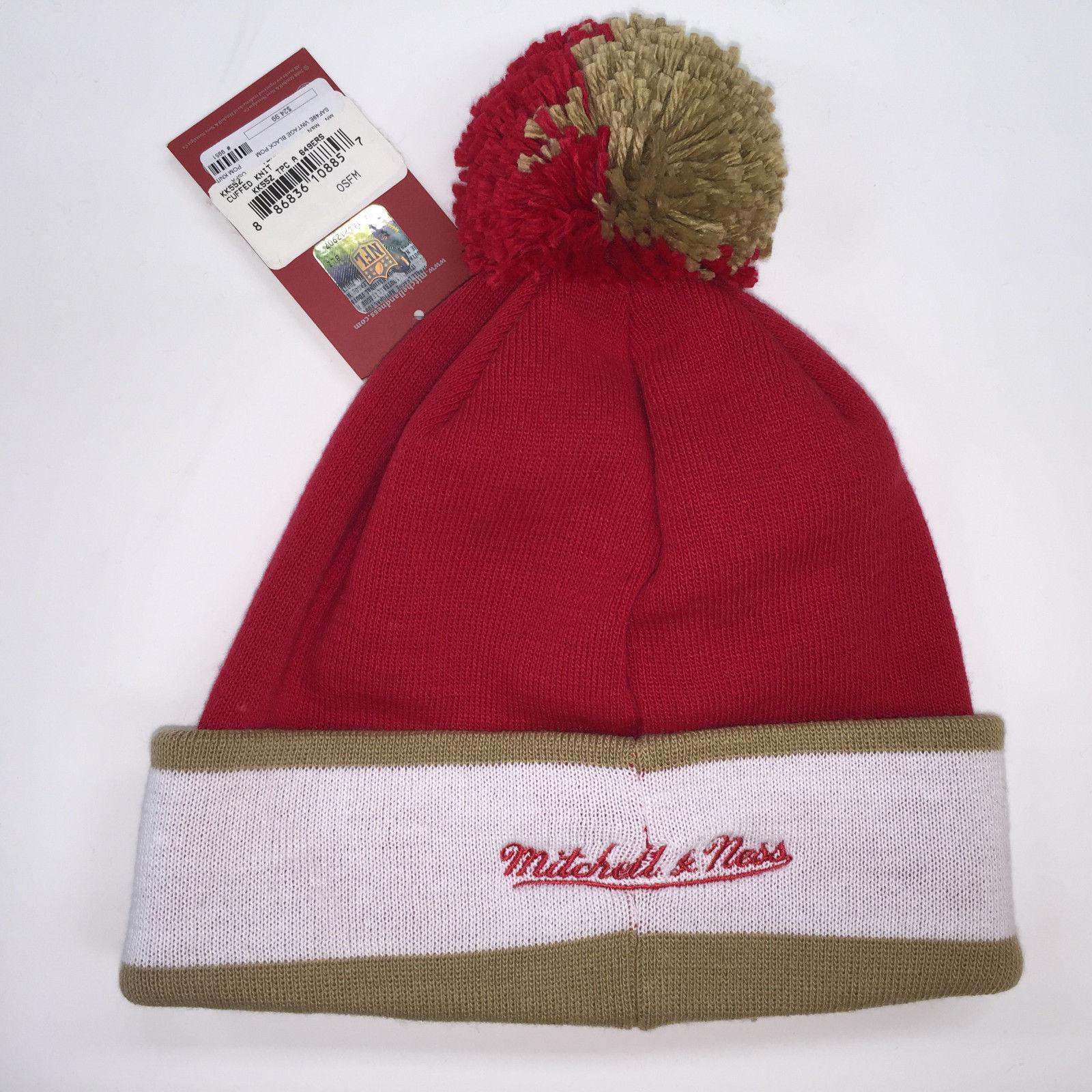Mitchell & Ness NFL San Francisco 49ers Vintage Black Pom Knit Beanie 9951