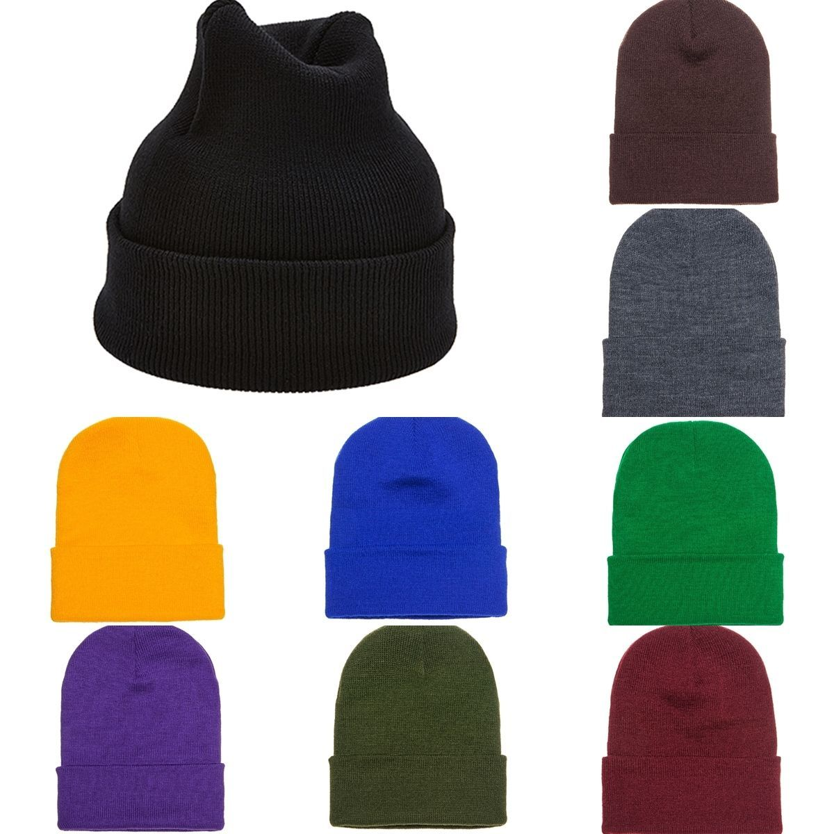 CUSTOM EMBROIDERY Personalized Customized Yupoong Cuffed Beanie Cap Hat 1501KC