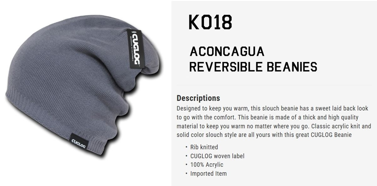 Cuglog By Decky Aconcagu Beanie Baggy Thick Long Slouch Rib Knit Snow Cap  K018