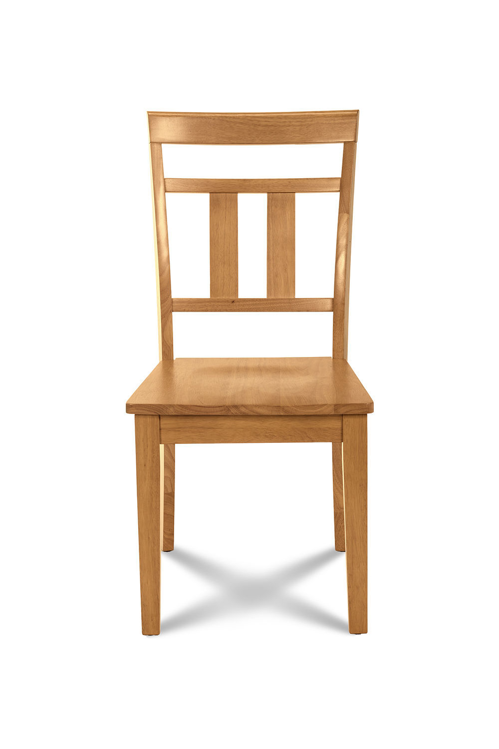 SET OF 2 KITCHEN DINING SIDE CHAIRS w/ WOODEN SEAT IN  OAK FINISH