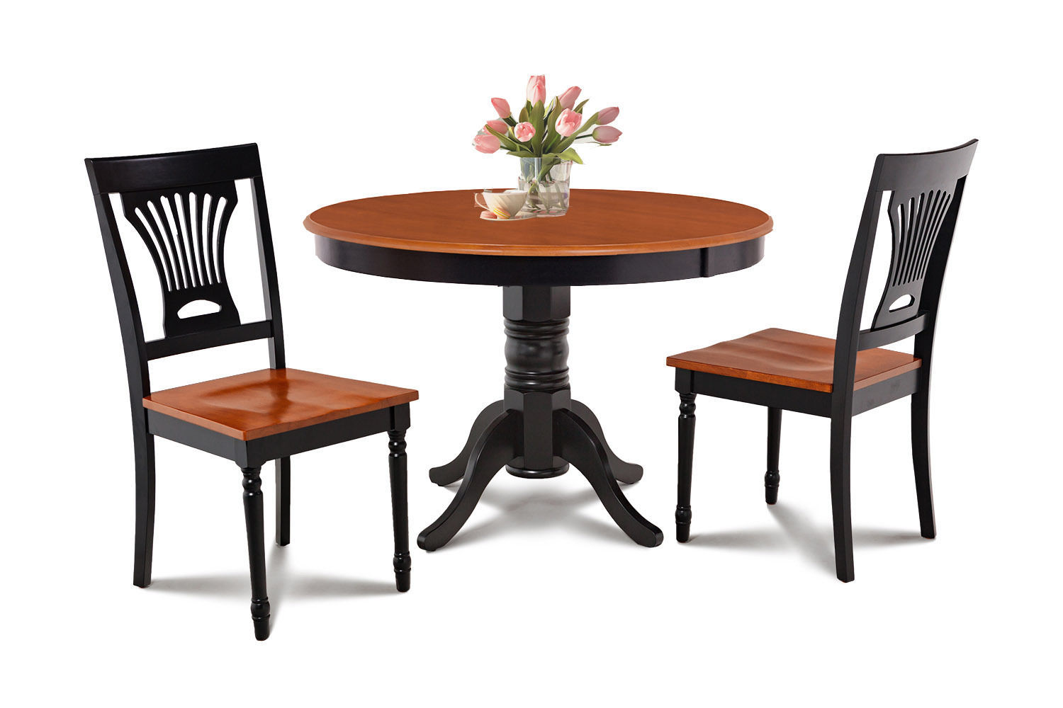 "36"" ROUND TABLE DINETTE KITCHEN TABLE DINING CHAIR SET  IN BLACK CHERRY"