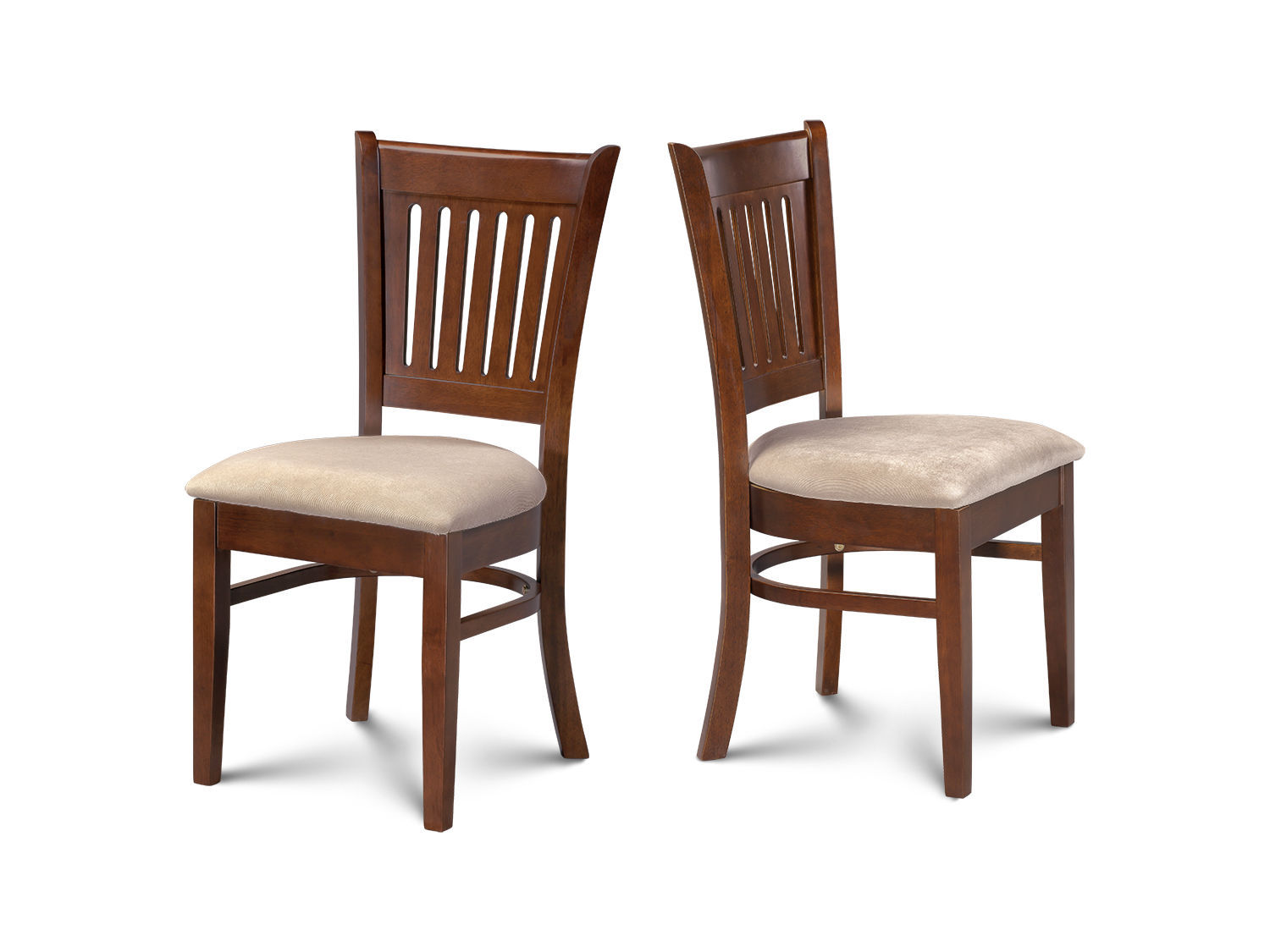 SET OF 2 DINETTE KITCHEN DINING CHAIRS WITH WOODEN SEATS IN ESPRESSO