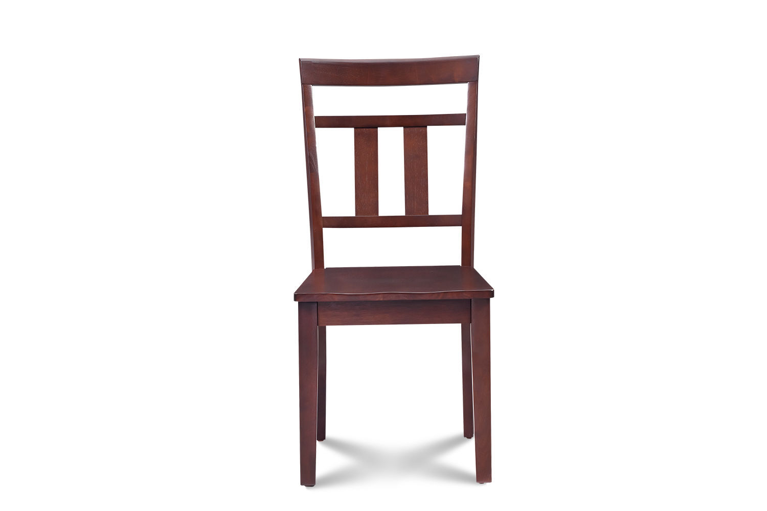 SET OF 2 KITCHEN DINING SIDE CHAIRS w/ WOODEN SEAT IN MAHOGANY FINISH